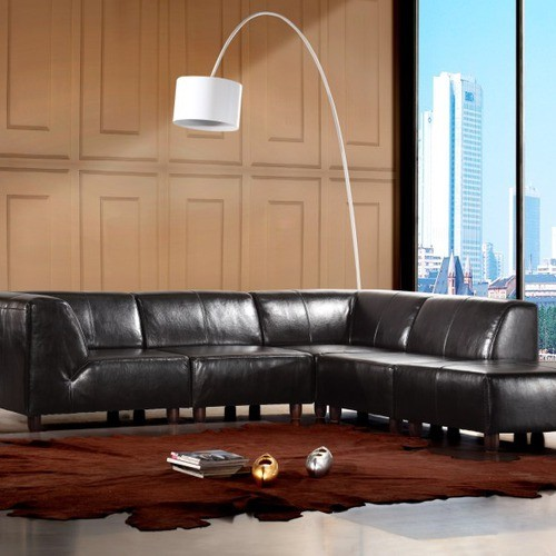 New york 5 piece leather sectional sofa set in dark brown for Leather sectional sofa new york