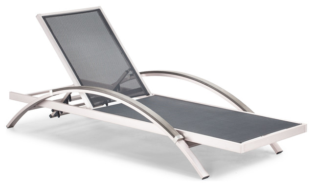 Metropolitan lounger brushed aluminum set of 2 for Aluminum web chaise lounge
