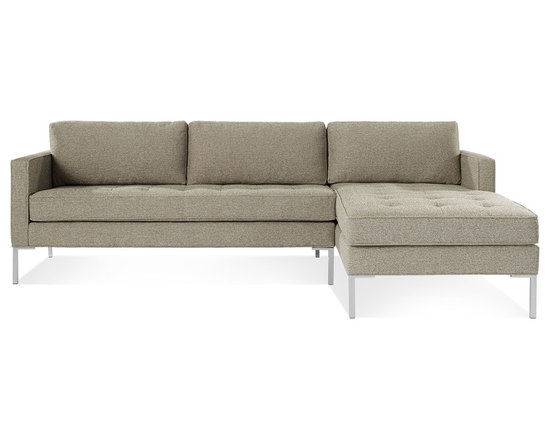Blu Dot - Paramount Sofa with Right Arm Chaise, Ash - As comfortable as your favorite jeans. As versatile as a little black dress. This classic sofa and chaise combination can go anywhere in style but don't be surprised if it steals the limelight in its own quiet way. Available in ash, ceramic, lead and oatmeal.