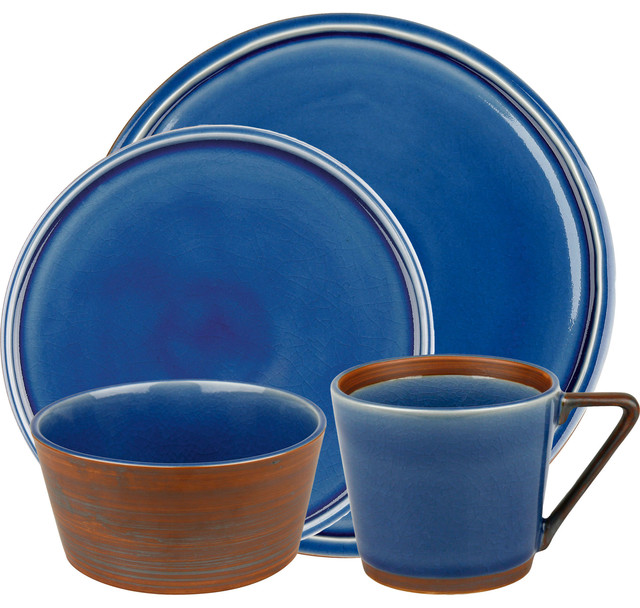 Pure Nature Blue 4pc Place Setting contemporary-dinnerware-sets