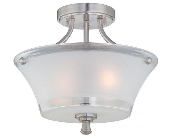 Joshua Marshal - Steel Niccolo 2 Light Semi Flush Ceiling Fixture - Finish: Polished Steel