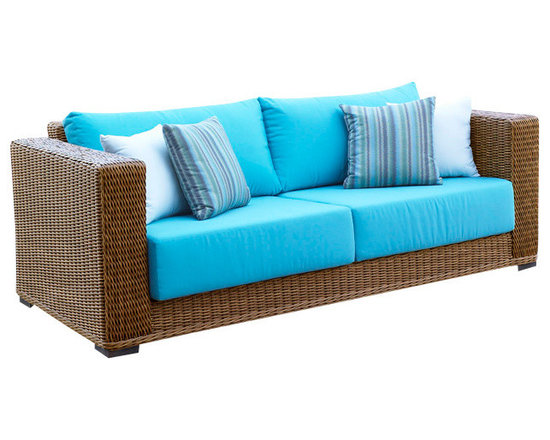 WickerParadise - Patio Outdoor Wicker Sofa - Create an outdoor living room of your dreams with this wicker sofa. The deep seating and sleek, modern lines give you and your guests a reason to linger long after brunch is over.