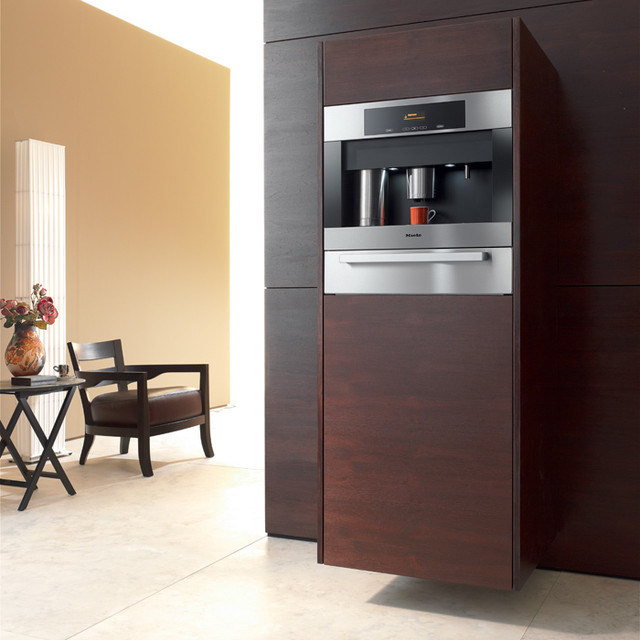 "5 Reasons To Put Shiplap Walls In Every Room: Miele CVA4066 24"" Built-In Whole Bean Coffee System"
