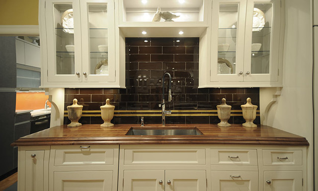Walnut Wood Kitchen Countertop with Sink by Grothouse traditional kitchen countertops