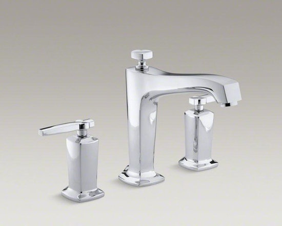 KOHLER Polished Chrome Margaux® Deck-mount Bath Faucet Trim for High-flow Valve - Blending traditional design with contemporary accents, Margaux faucets and accessories are an ideal complement to any modern bathroom. This bath faucet trim embodies Margaux's minimalist style with its fluid silhouette and sleek ergonomic lever handles. Pair this trim with high-flow ceramic disc valves for optimal performance.