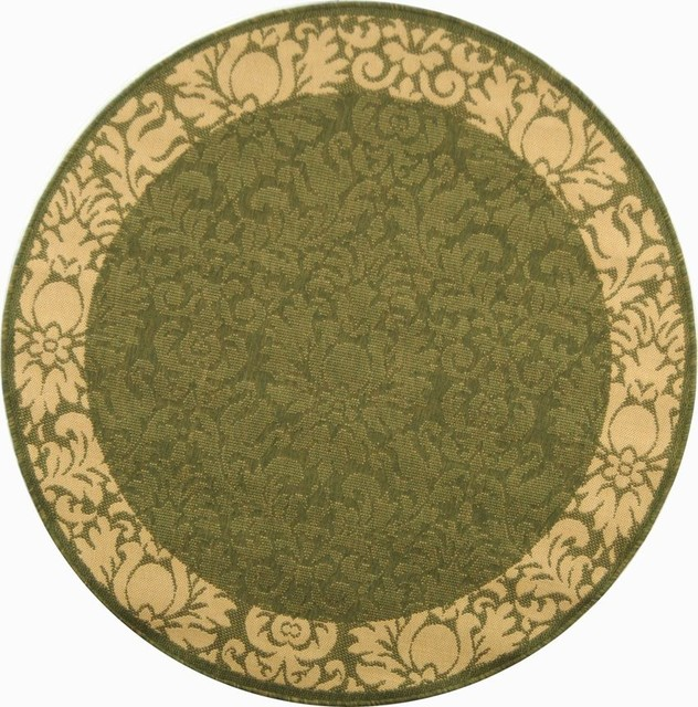 Indoor outdoor courtyard round 6 39 7 round olive natural for Area rugs round contemporary