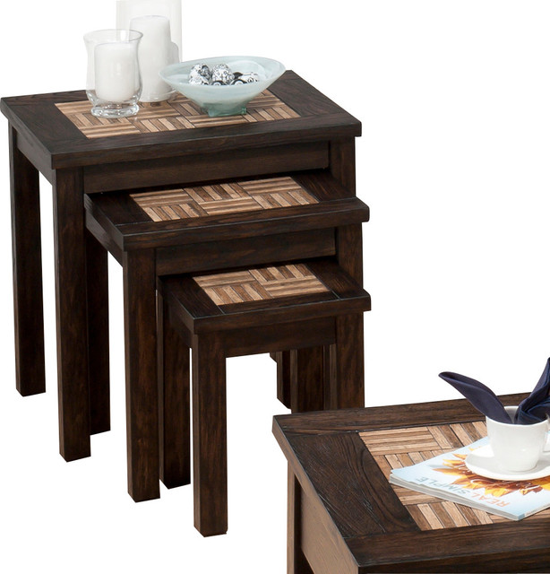 Barkley Console Table: Jofran Barkley 3 Nesting Chairside Tables With Wood Tile