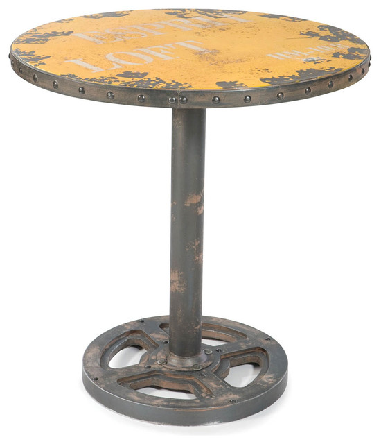 Industrial Round Dining Table: Wheel Table Round Yellow