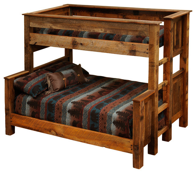 Barnwood Beds Twin Over Queen Barnwood Bunk Beds Rustic Beds By