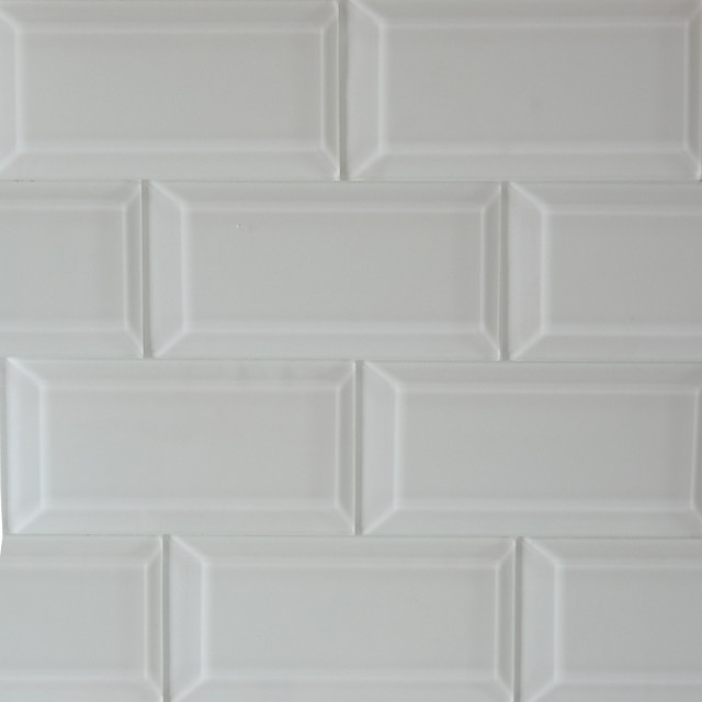 white solid color beveled glossy subway mosaic glass tile