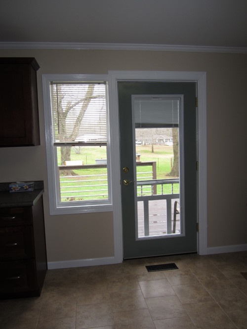 Kitchen Curtains For Adjacent Window And Deck Door