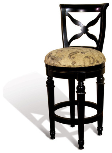 Windsor swivel bar stool with cross back in distressed ebony modern bar stools and counter - Windsor back counter stools ...