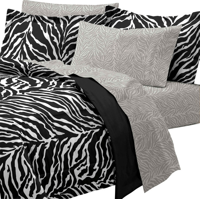 Classic Black And White Bedroom Zebra Bedroom Ideas White Bedroom Background Bedroom New: Zebra Print Queen Bedding Set 7 Piece Black White Bed