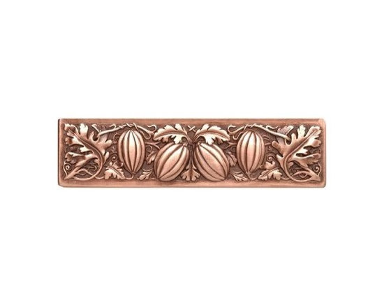 """Inviting Home - Autumn Squash Pull (antique copper) - Hand-cast Autumn Squash Pull in antique copper finish; 4-7/8""""W x 1-1/4""""H; Product Specification: Made in the USA. Fine-art foundry hand-pours and hand finished hardware knobs and pulls using Old World methods. Lifetime guaranteed against flaws in craftsmanship. Exceptional clarity of details and depth of relief. All knobs and pulls are hand cast from solid fine pewter or solid bronze. The term antique refers to special methods of treating metal so there is contrast between relief and recessed areas. Knobs and Pulls are lacquered to protect the finish."""