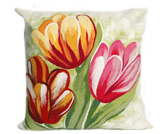 """Trans-Ocean Outdoor Pillows - Trans-Ocean Liora Manne Tulips Warm - 20"""" x 20"""" - Designer Liora Manne's newest line of toss pillows are made using a unique, patented Lamontage process combining handmade artistry with high tech processing. The 100% polyester microfibers are intricately structured by hand and then mechanically interlocked by needle-punching to create non-woven textiles that resemble felt. The 100% polyester microfiber results in an extra-soft hand with unsurpassed durability."""