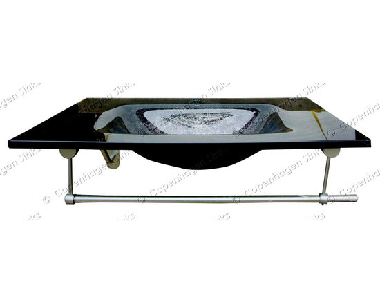 33in x 20.5in Black & Silver Hand Painted Modern Glass Countertop and Sink -