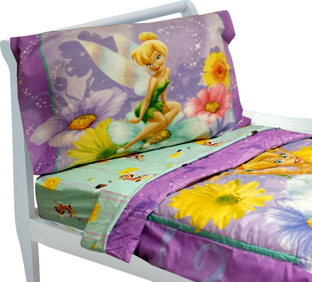 Tinkerbell Toddler Bedding Set 4pc Disney Fairy Flowers Bed modern-kids-bedding