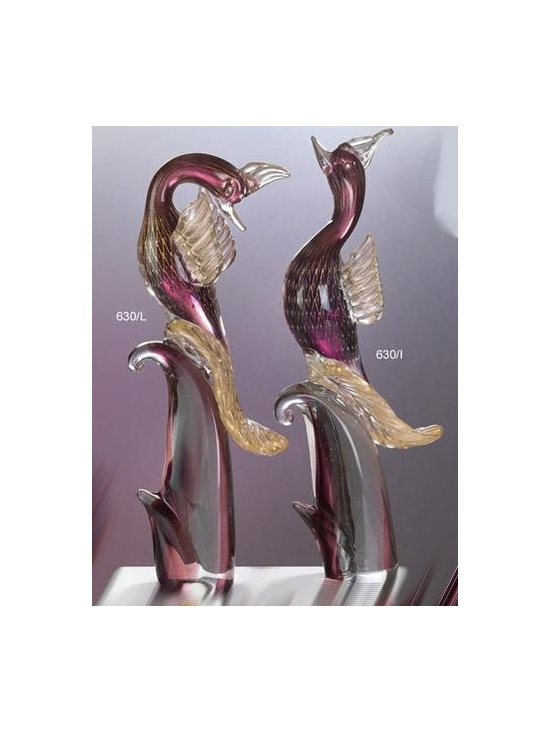 Murano Glass Sculptures and Figurines - Murano Glass gold wire net and amethyst birds of paradise- COA and made to order.  More available so please contact us