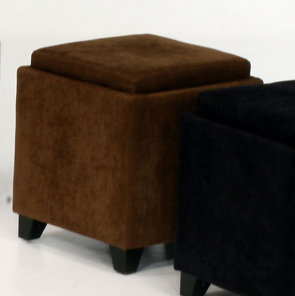 Microfiber Storage Ottoman In Brown Contemporary Ottomans And Cubes By Modern Furniture