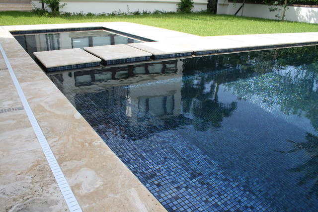 Iridescent Black Glass Tile Contemporary Miami By Foreverpools