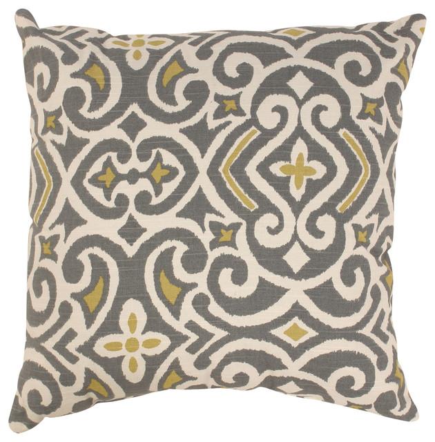 Pillow Perfect Grey/ Greenish-Yellow Damask Throw Pillow - Contemporary - Decorative Pillows ...