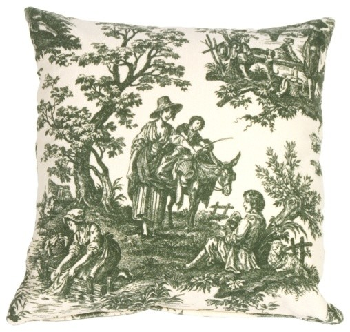 Pillow Decor - Green and Cream Classic Toile Throw Pillow contemporary-decorative-pillows