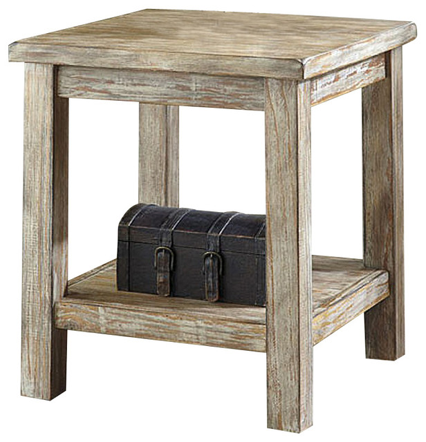 Rustic Accents Chairside Accent End Table Distressed