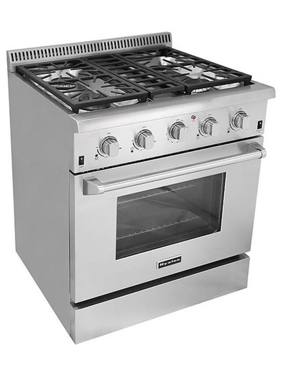 "Cosmo Kitchen - 30"" Professional Style Freestanding Stainless Steel 4 high Powered Gas Burners - Let this hot new gas range help you create meals like a professional chef. For those with discriminating tastes, this 4.2 cubic foot oven has the space to get it all done and the power to get it done fast. The freestanding gas range features 4 high powered gas burners which allow you to cook from a high heat for boiling, frying or searing to a low simmer for the most delicate sauces. With its classic stainless steel body and modern black finishes this freestanding gas range is designed to perform as well as it looks."