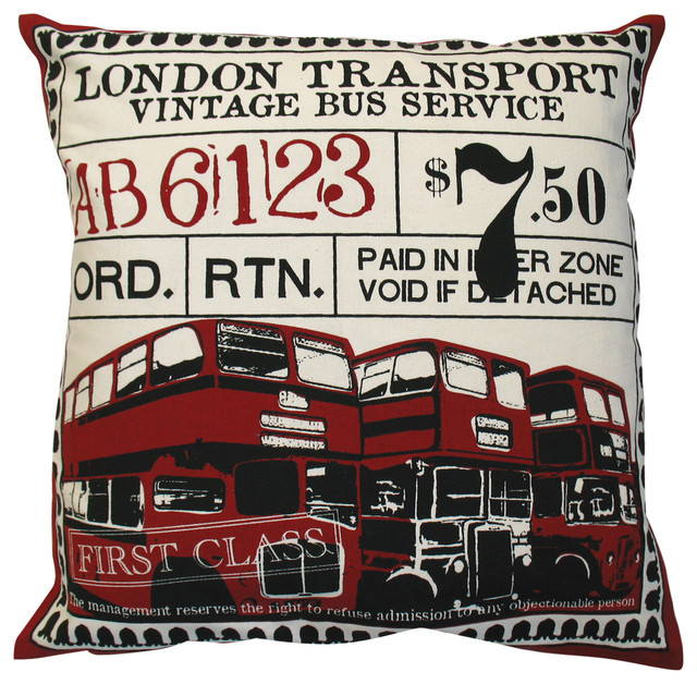 """Ticket Pillow, London, Red, 20"""" x 20"""" eclectic-decorative-pillows"""