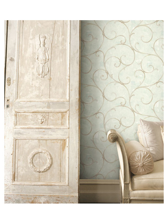 Vintage Wallpaper - A vintage inspired swirl wallpaper available from Brewster Home Fashions