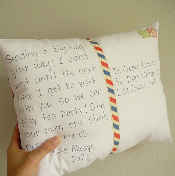 Personalize a Postcard Pillow by Olive Handmade eclectic-pillows