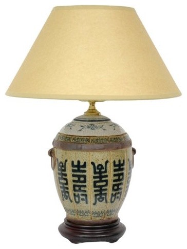 Timeless and elegant the 17-Inch Jar Lamp depicts a classic Song Dynasty design. asian-table-lamps