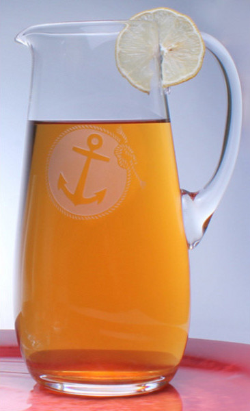 Rolf Etched Anchorage Glass Pitcher tropical-pitchers
