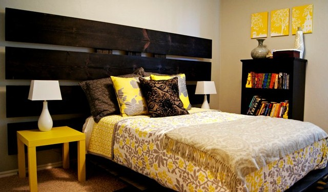Yellow and Gray Bedroom modern-bedroom