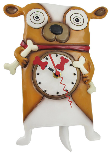 Allen Designs 'Roofus' the Dog Wall Mounted Pendulum Clock eclectic-clocks