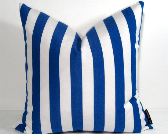 Cobalt Blue White Stripe Outdoor Decor Cushion - Bold cobalt blue and white striped Outdoor pillow for a space that demands style! Crafted in Sunbrella outdoor fabric for the patio, boat or any low maintenance indoor or outdoor space where style will not be compromised! Zippered closure. Natural white Sunbrella reverse side.