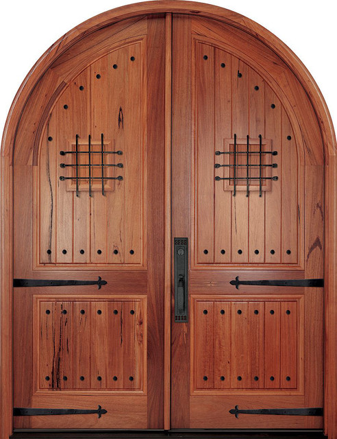 Mediterranean Doors Andean Walnut Plank Style Round Top Double Entry Medi