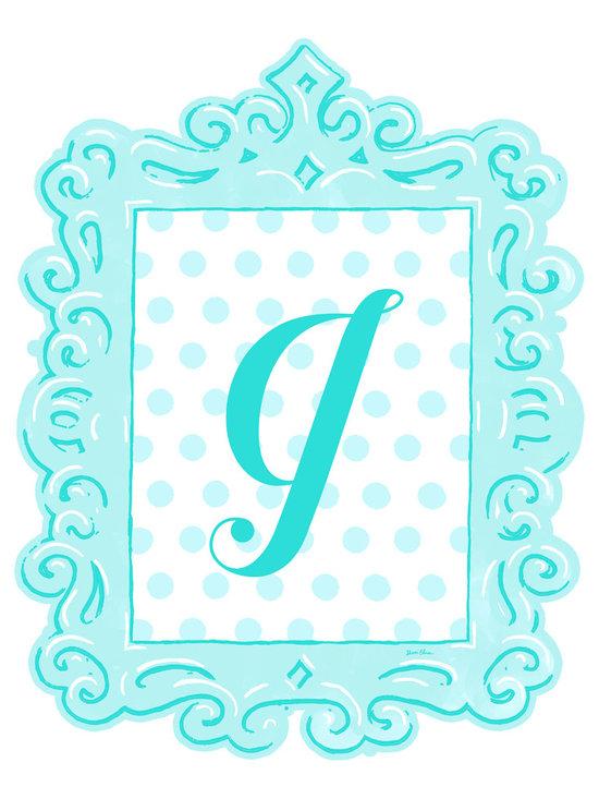 Sherri Blum Framed Aqua Dotted Monogram Wall Decals by Oopsy Daisy -