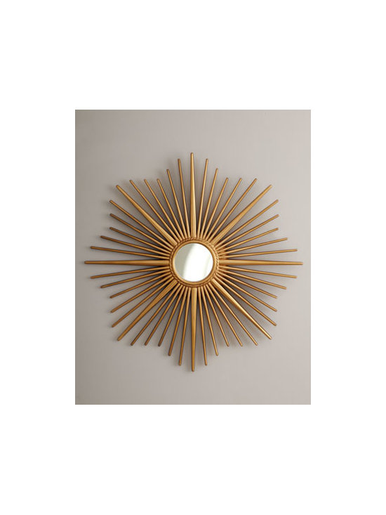 """Horchow - Golden Sunburst Mirror - A small round mirror resides inside the brilliant rays of this sunburst-framed mirror. Made of resin and mirrored glass. Hand-painted golden finish. 34""""Dia. x 1""""D. Imported. Boxed weight, approximately 12 lbs. Please note that this item may requ..."""