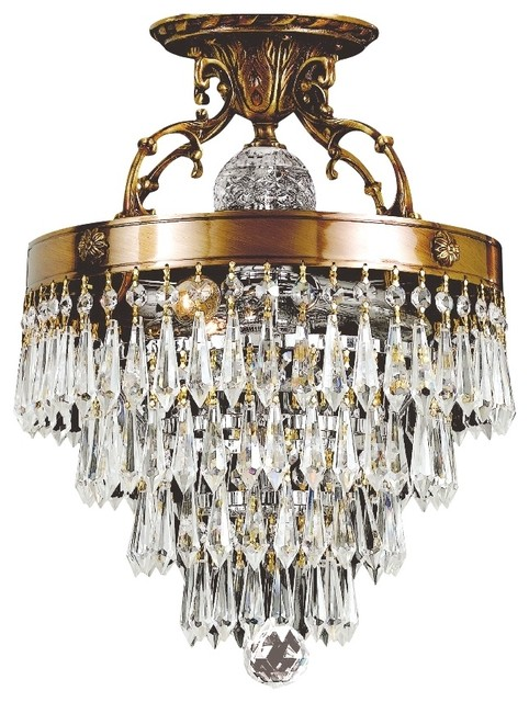 """Traditional Crystal and Brass 12"""" Wide Ceiling Light Fixture traditional-ceiling-lighting"""