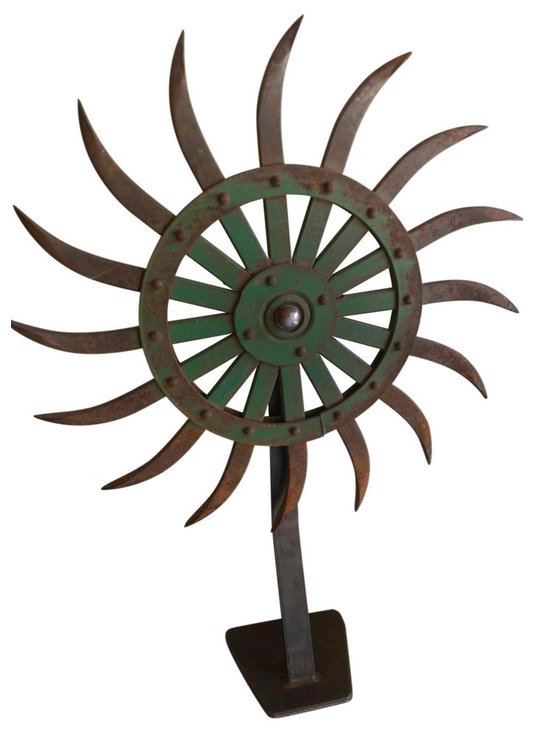 Gear Sculpture - One of kind industrial gear sculpture.  Crafted with all recycled material.  Great conversation piece, in a cluster of 2 or 3 they bring and industrial aesthetic to any room.  The gear also have movement and can be turned.