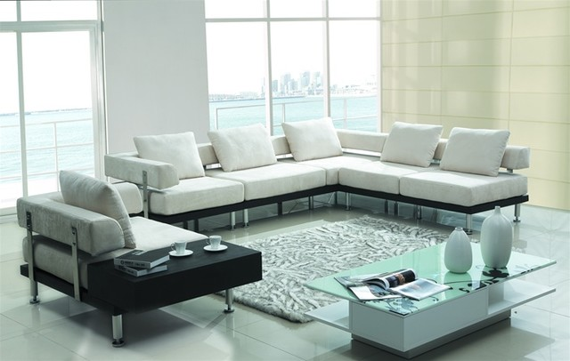 Three Pieced Contemporary Sectional Set Upholstered in White Microfiber modern sectional sofas