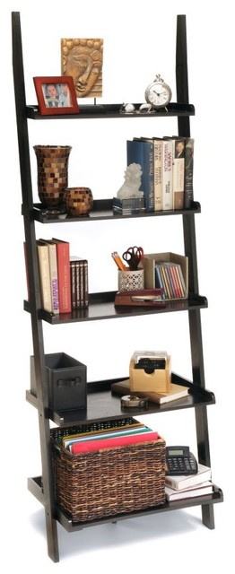Convenience Concepts American Heritage Black Bookshelf Ladder - 8043391-BL contemporary-bookcases