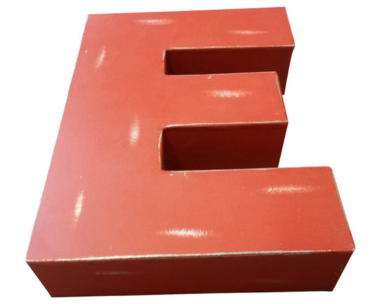 Industrial Metal Block Letter - 'E' - Industrial Chic metal block letter E. It has a wonderful rustic distressed red finish. It has nail hanging holes on the back so that it can be hung on a wall, although it makes really cool shelf/table top décor as well.