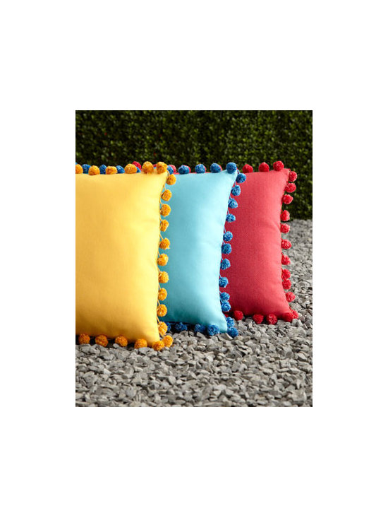 Elaine Smith Reversible Outdoor Pom-Pom Pillows - These pom-pom-trimmed cushions from Horchow have got to be some of the peppiest outdoor pillows around. Bonus: They are reversible!