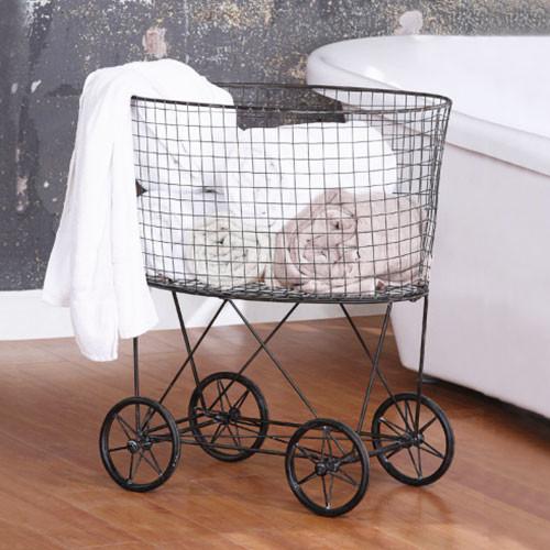 Olga's Metal Laundry Basket with Wheels - Modern ...