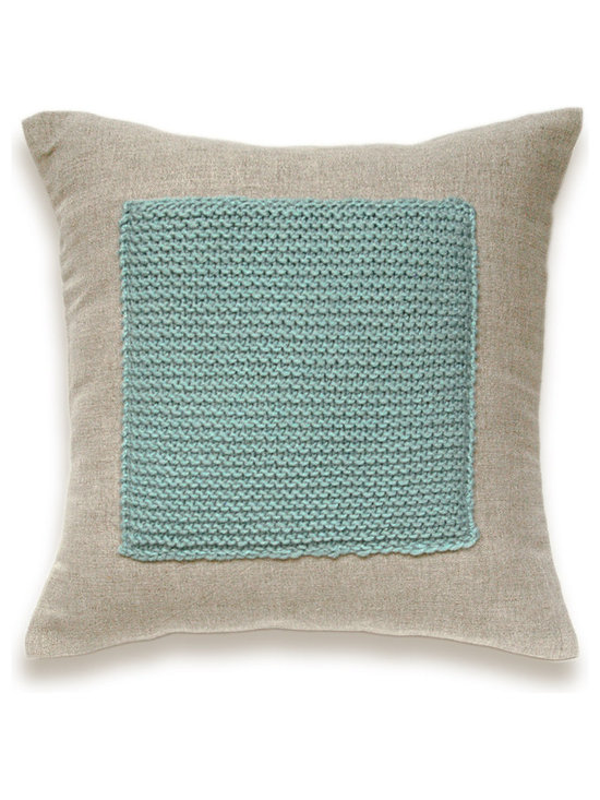 Color Block Linen Knit Pillow Cover In Duck Egg Blue Flax Beige 16 inch -