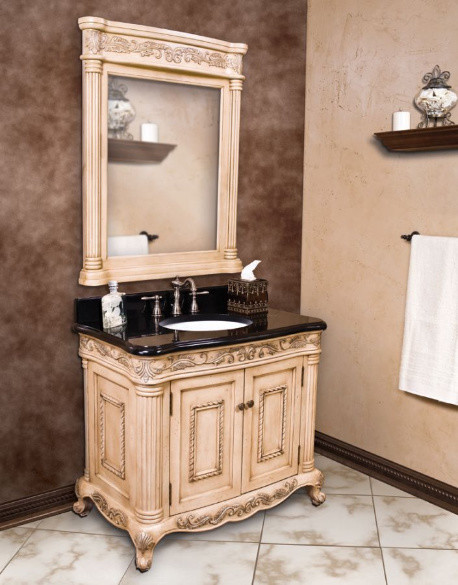 Antique White Ornate French Bathroom Vanity traditional-bathroom-vanities-and-sink-consoles