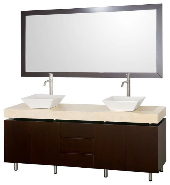 Malibu 72in. Double Bathroom Vanity Set - Espresso modern-bathroom-vanities-and-sink-consoles