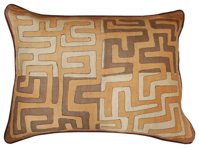 Kuba Raffia Cloth Large Pillow rustic-pillows